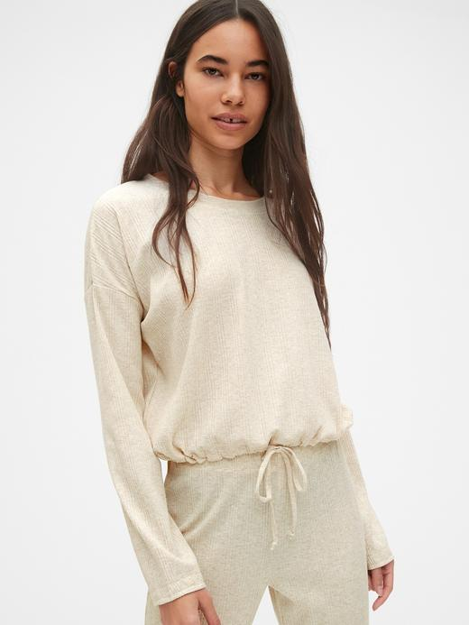 Kadın kırçıllı krem Uzun Kollu Pijama Üstü