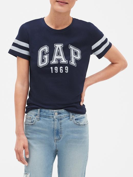 Gap Logo Çizgili Sıfır Yaka T-Shirt
