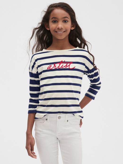 Kız Çocuk koyu lacivert Çizgili Baskılı T-Shirt