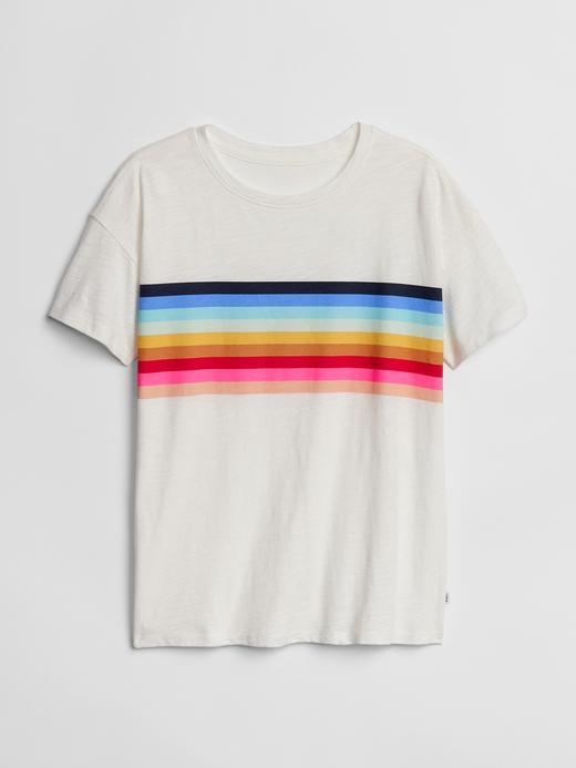 Kız Çocuk kırık beyaz Göğüste Çizgili Kısa Kollu T-Shirt
