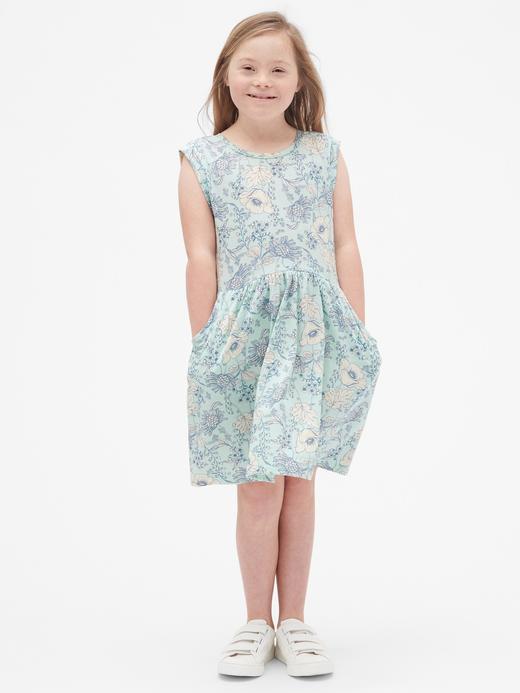 Çiçek Desenli Kolsuz Elbise