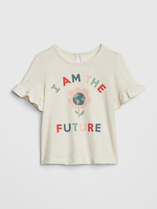 Fırfır Detaylı Baskılı T-Shirt