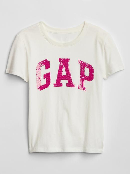 Kız Çocuk kırık beyaz Gap Logo Pullu T-Shirt