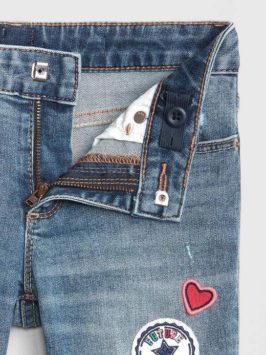 Kız Çocuk orta yıkama Superdenim İşlemeli Super Skinny Fantastiflex Jean Pantolon