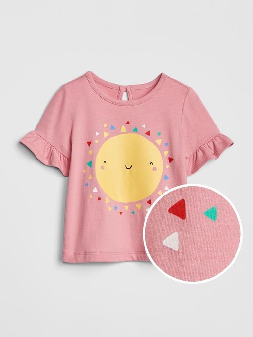 Bebek pembe Fırfır Detaylı Baskılı T-Shirt