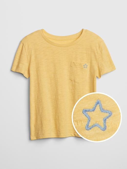 Kız Çocuk sarı İşlemeli Kısa Kollu T-Shirt