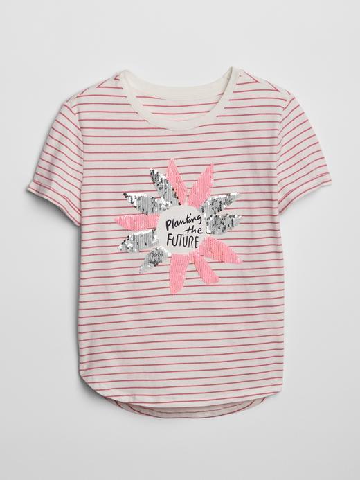 Kız Çocuk pembe çizgili Değişen Pullu Baskılı T-Shirt