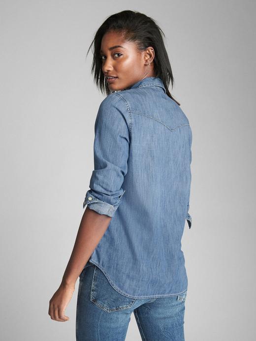 Kadın orta indigo Denim Gömlek