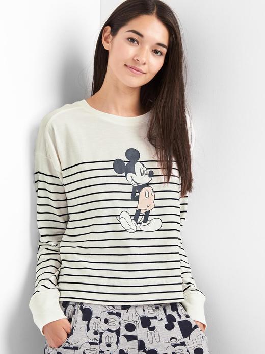 Kadın mavi çizgili Gap   Disney Mickey Çizgili Pijama Üstü