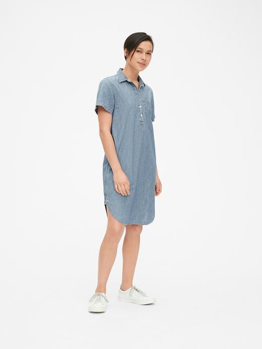 Kadın açık indigo Kısa Kollu Şambre Gömlek Elbise