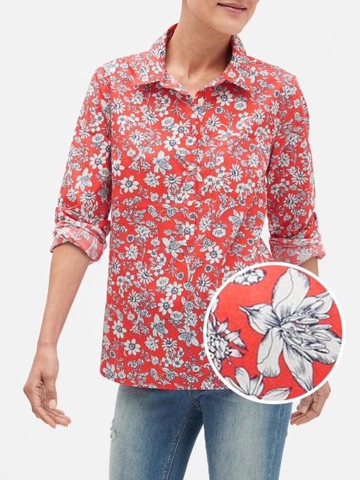 Kadın kırmızı desenli Desenli Poplin Boyfriend Gömlek