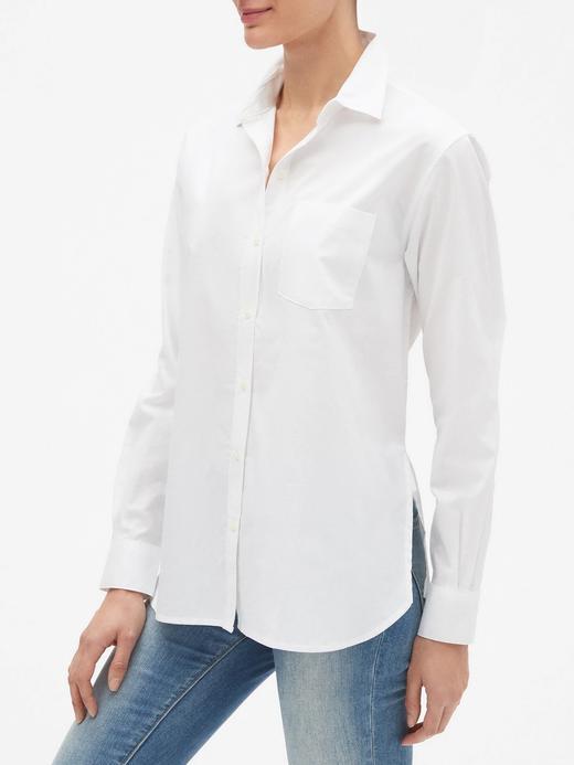 Kadın beyaz Uzun Kollu Poplin Gömlek