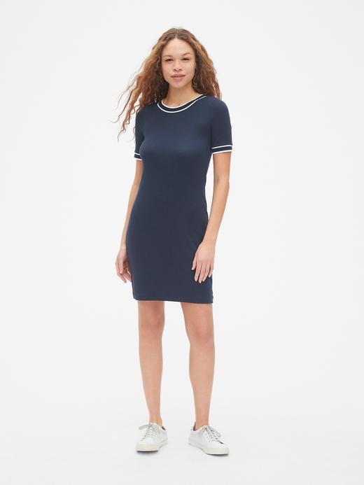Kadın lacivert Kısa Kollu Gömlek Elbise