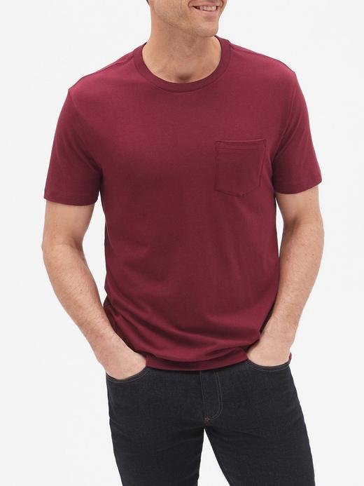 Erkek bordo Everyday Kısa Kollu Cepli T-Shirt
