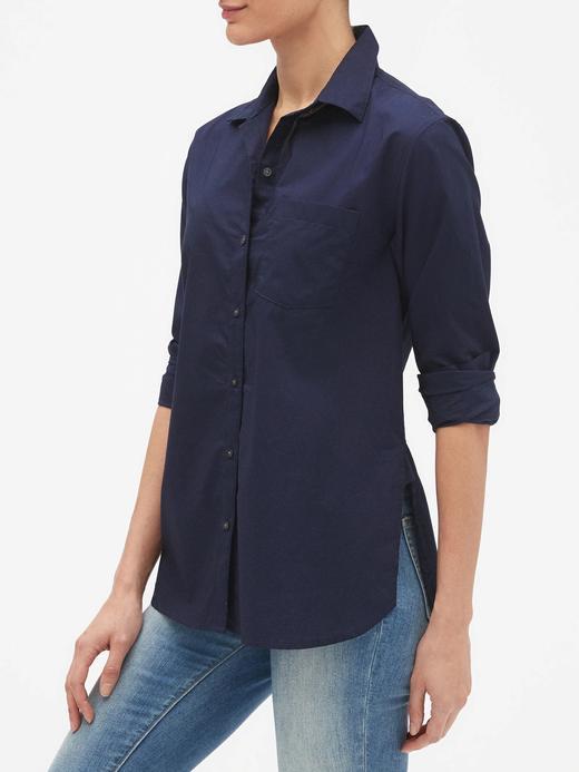 Kadın lacivert Uzun Kollu Poplin Gömlek