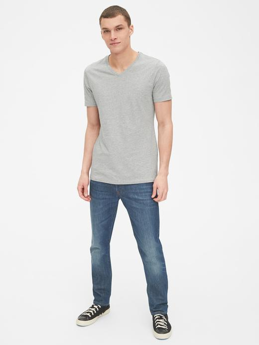 Erkek Beyaz V Yaka T-Shirt