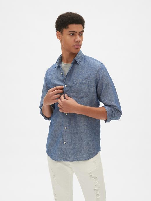 Pamuk ve Keten Karışımlı Standart Fit Gömlek