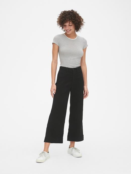 Kadın Kahverengi Yüksek Belli Wide Leg Chino Pantolon