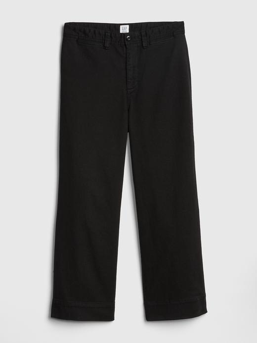 Kadın Sarı Yüksek Belli Wide Leg Chino Pantolon