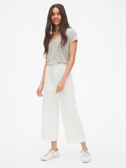 Kadın Beyaz Yüksek Belli Wide Leg Chino Pantolon