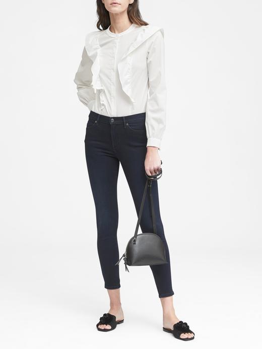 Kadın koyu indigo Yüksek Belli Luxe Sculpt Jean Pantolon
