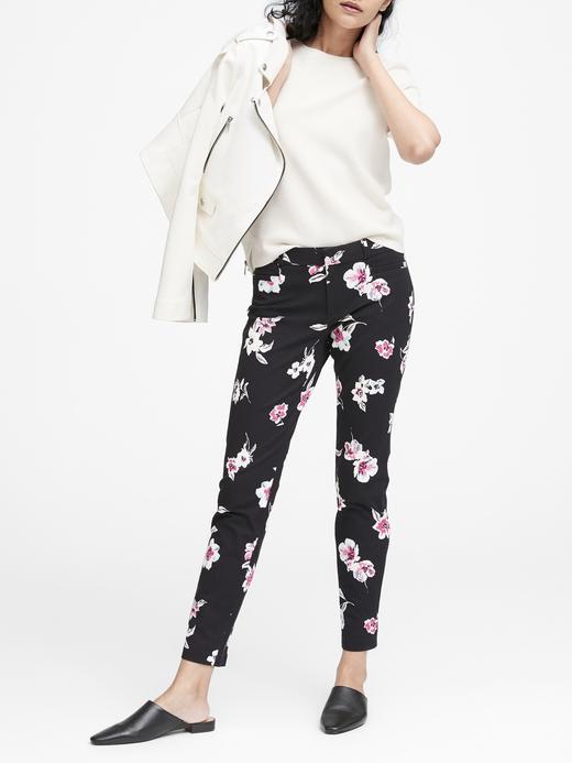 Kadın siyah Sloan Skinny-Fit Çiçekli Pantolon