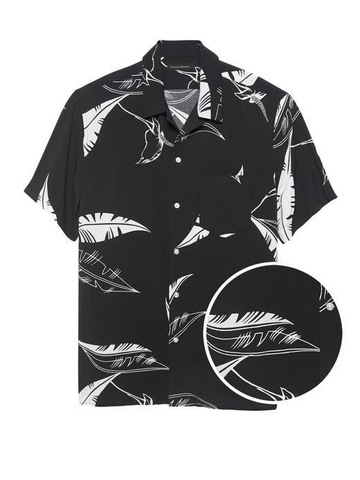 Erkek siyah desenli Desenli Kısa Kollu Gömlek