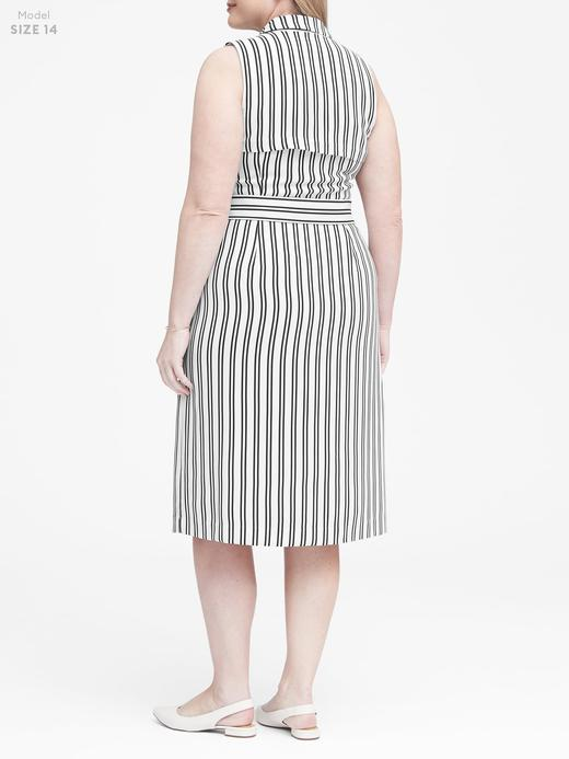Kadın siyah beyaz Çizgili Trenç Elbise