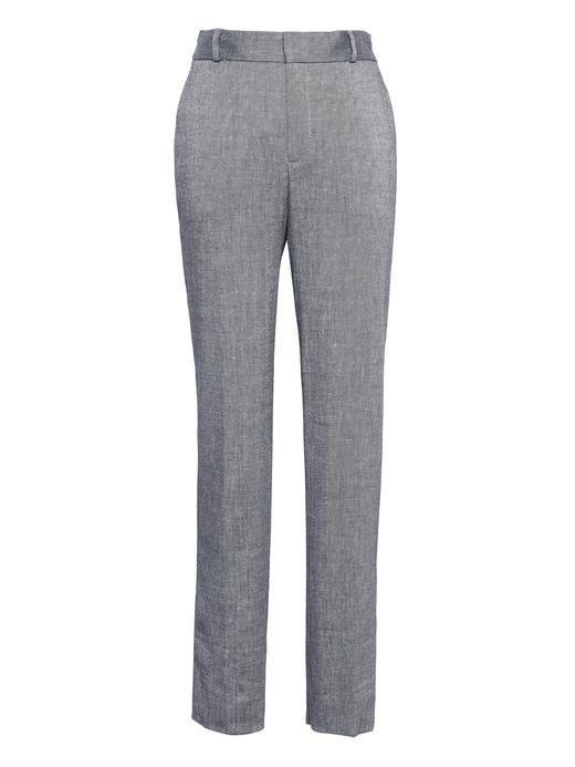 Kadın mavi Avery Straight-Fit Keten ve Pamuk Karışımlı Pantolon