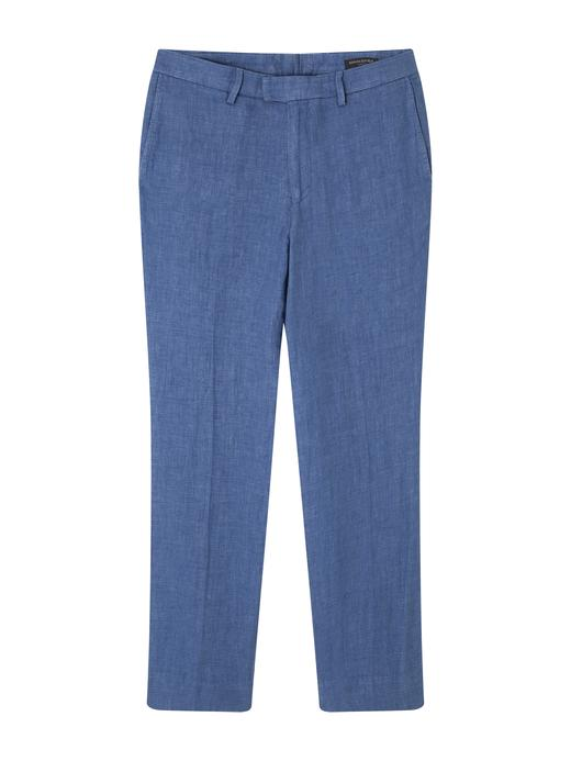 Erkek Mavi Keten Karışımlı Pantolon