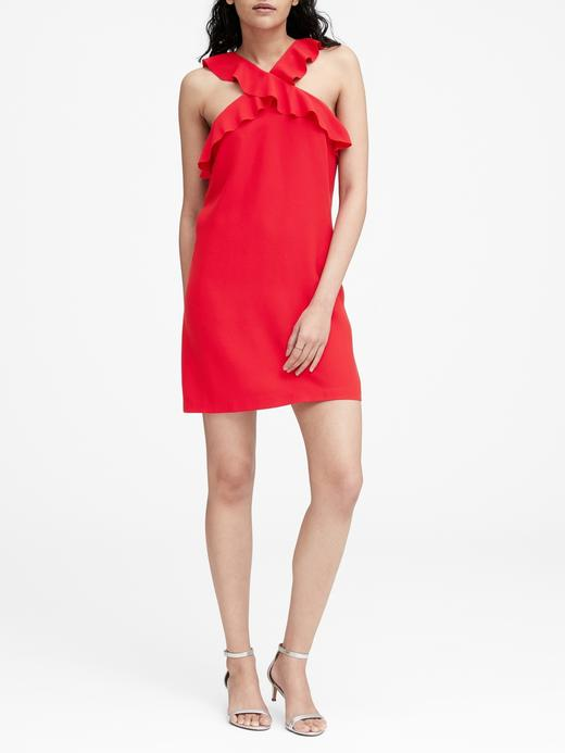 Kadın kırmızı Fırfır Detaylı Elbise