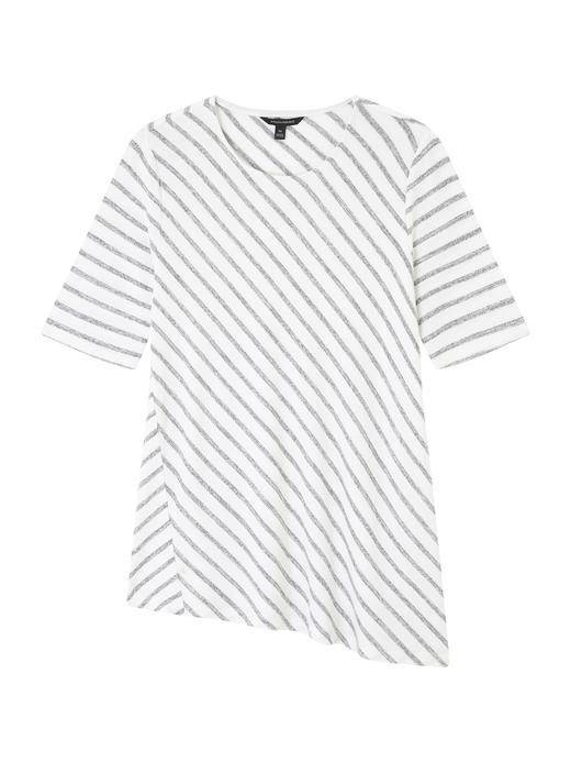 Asimetrik Kesem Luxespun Kısa Kollu Bluz