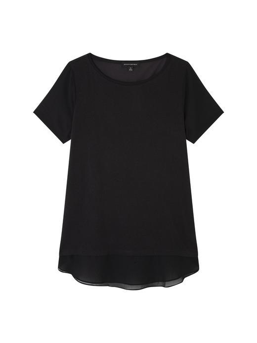 Kısa Kollu Çift Kat Görünümlü T-Shirt