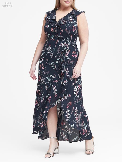 Kadın lacivert Çiçek Desenli Maxi Elbise