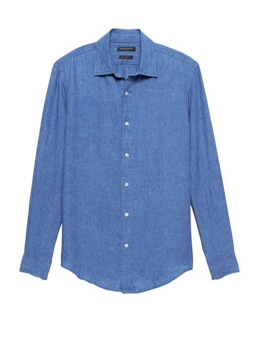 Erkek saks mavisi Standard-Fit Keten Gömlek