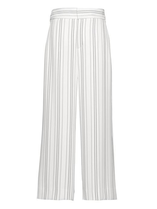 Kadın beyaz çizgili Yüksek Belli Wide Leg Pantolon