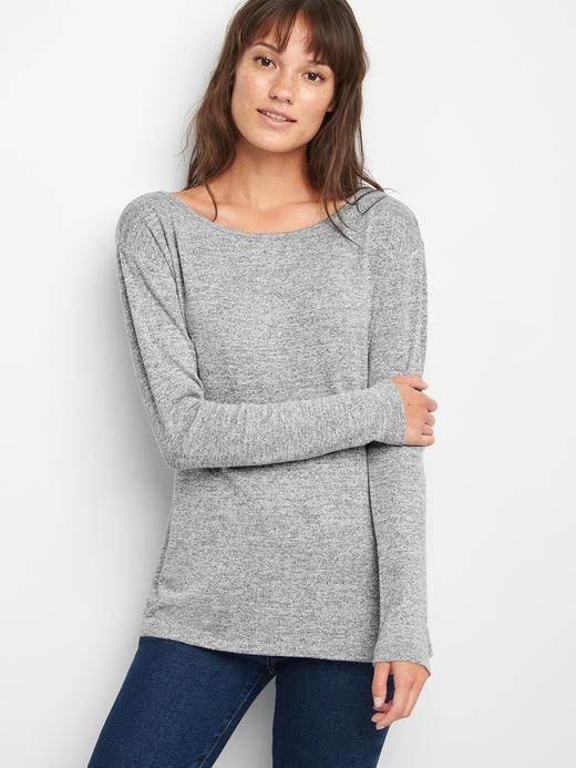 Kadın gri Softspun uzun kollu t-shirt