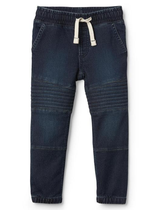 Super soft denim moto jogger pantolon