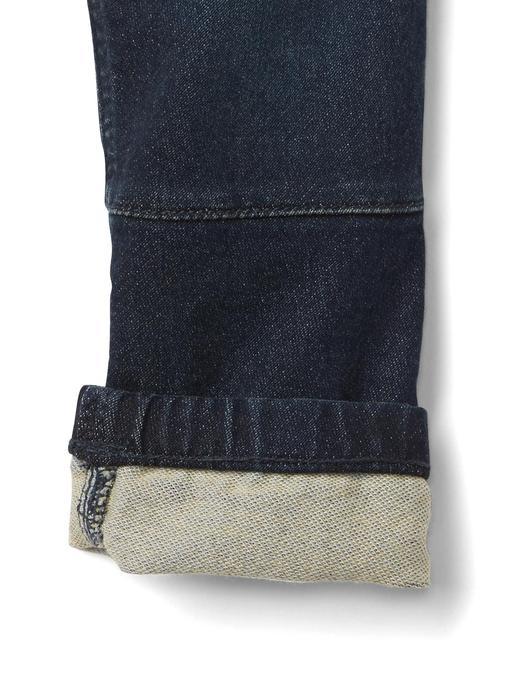 Bebek orta yıkama Super soft denim moto jogger pantolon
