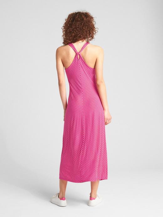 Kadın çok renkli çizgili Çizgili kolsuz midi elbise