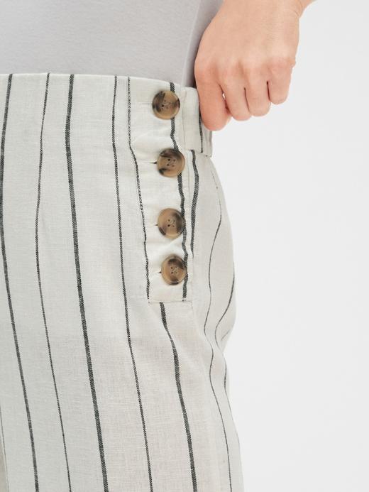 Yandan Düğmeli Çizgili Geniş Paça Pantolon