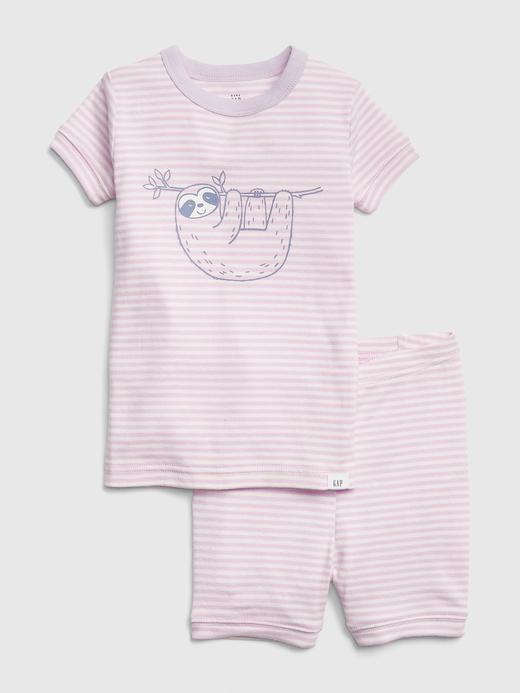 Grafik Çizgili Kısa Pijama Takımı