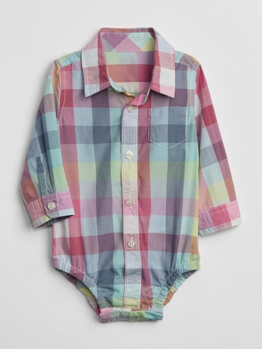 Bebek açık mavi Uzun Kollu Gömlek Body