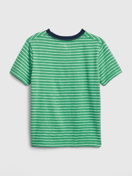 Bebek yeşil Çizgili Desenli T-Shirt