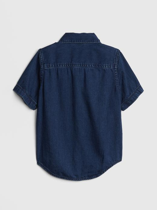 Denim Kısa Kollu Gömlek