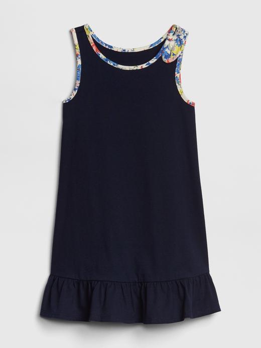 Bebek koyu lacivert Etekleri Fırfırlı Elbise
