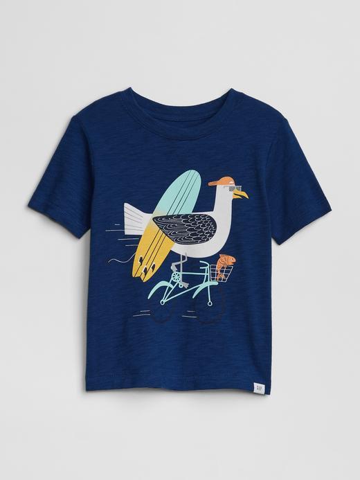 Bebek lacivert Desenli T-Shirt