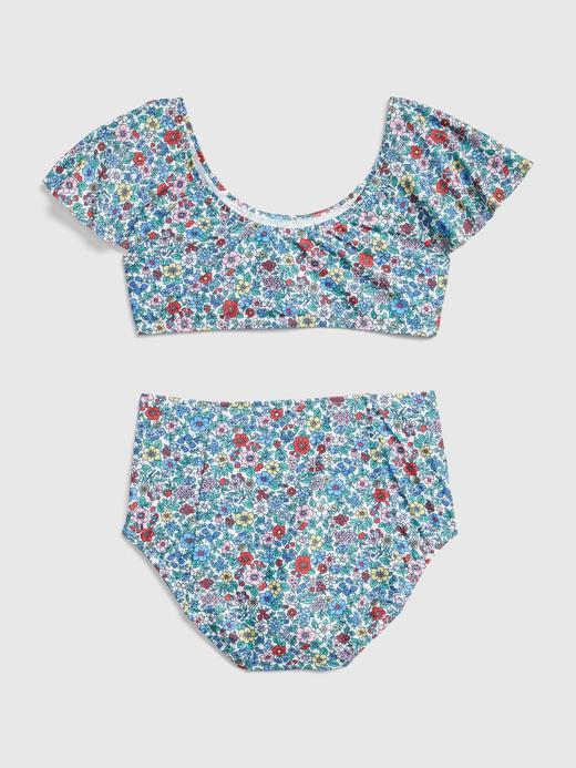Kız Çocuk açık mavi Çiçek Desenli Bikini