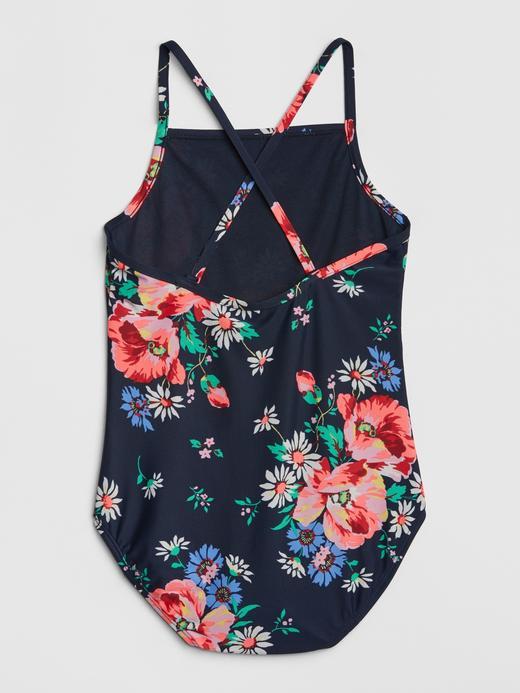 Kız Çocuk koyu lacivert Çiçek Desenli Mayo