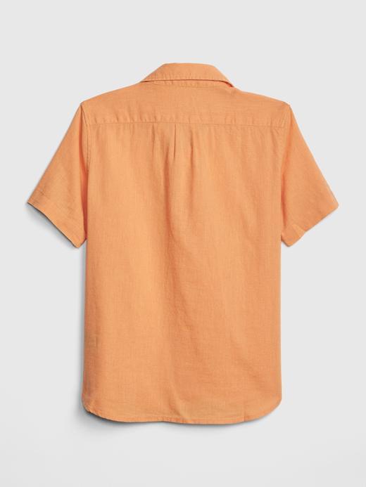 Erkek Çocuk su yeşili Kısa Kollu Keten Gömlek
